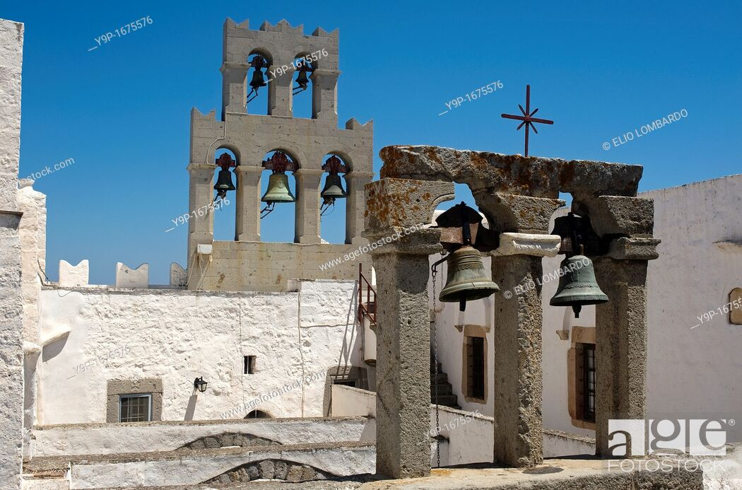 Stock Photo: Monastery of Aghios Ioannis Theologos  Chora, Island of Patmos, Dodecanese, Greece.