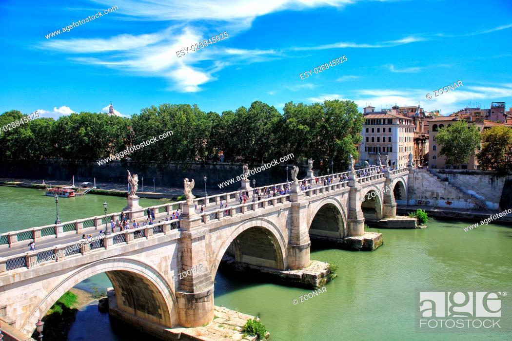 Stock Photo: bridge across the tiber.