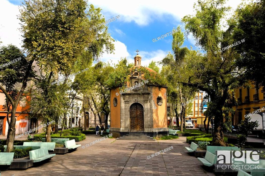 Stock Photo: Facade of an octagonal chapel, Plaza De La Concepcion, Mexico City, Mexico.