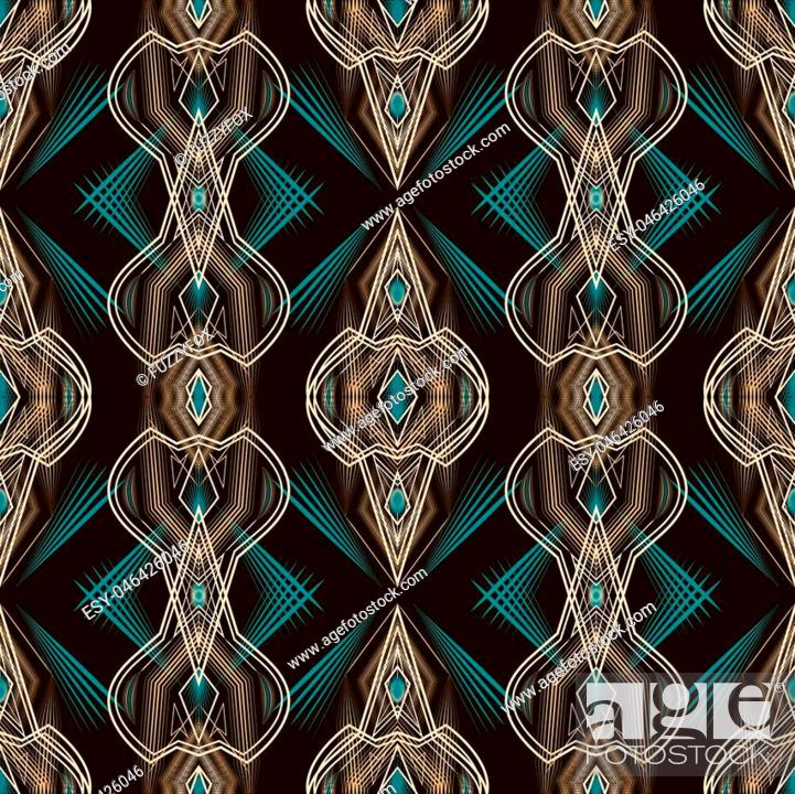 Imagen: Seamless beautiful antique art deco pattern ornament. Geometric background design, repeating texture.