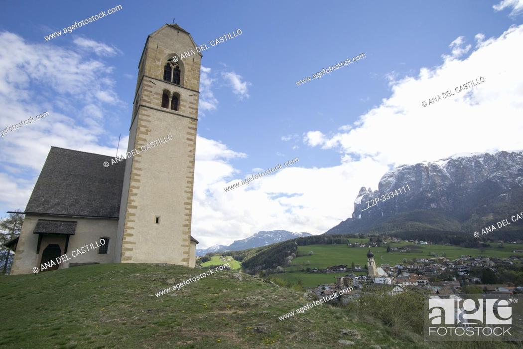Stock Photo: San Pietro In Colle church Fie allo Sciliar Trentino Alto Adigio South Tirol Italy.