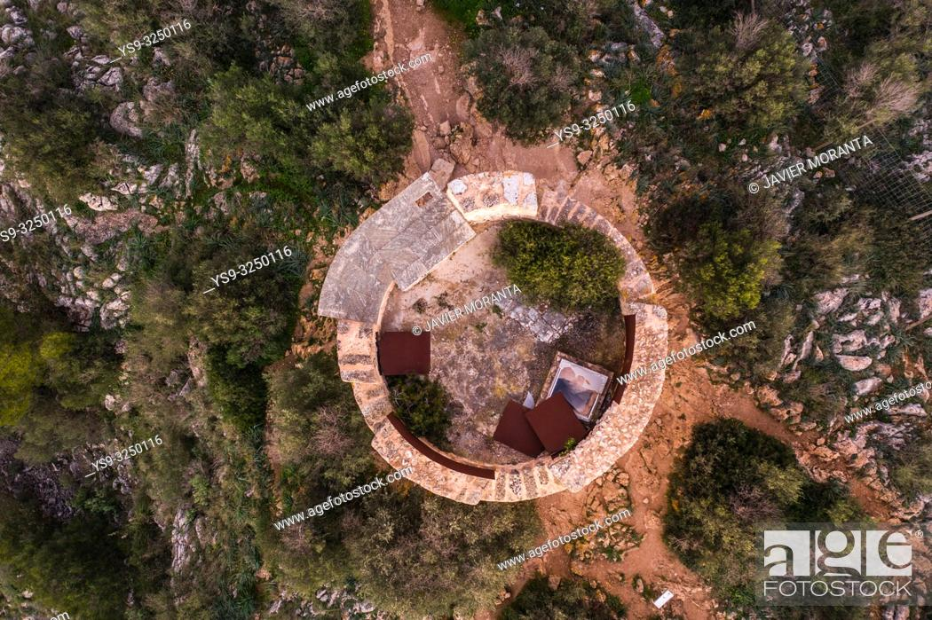 Stock Photo: Aerial photography of the Tower of Cap Andritxol, in Andratx, Mallorca, Spain, Balearic Islands.
