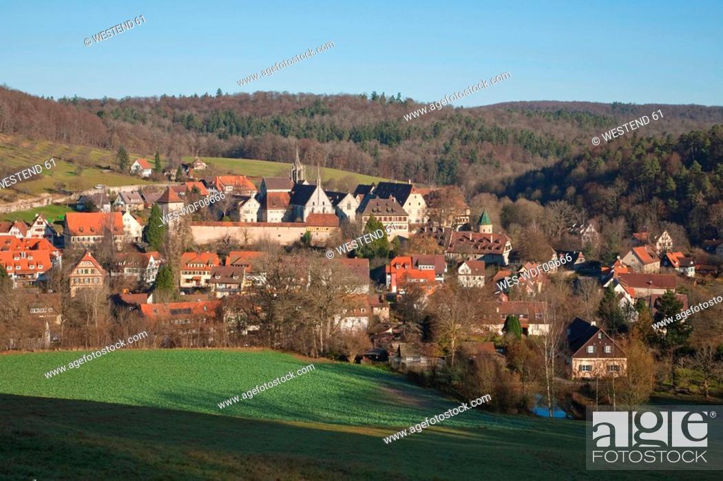 Stock Photo: Germany, Baden-Wuerttemberg, Tuebingen, view of the town with Bebenhausen Monastery.