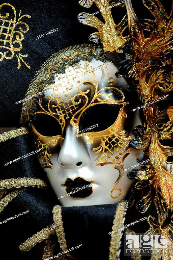 Stock Photo: Close up of a traditional Venetian carnival mask, Venice, Veneto, Italy.