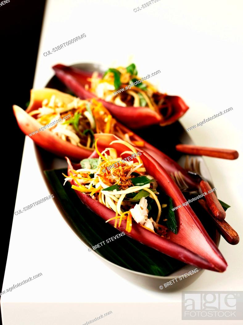 Stock Photo: Bowl of banana blossoms with chicken.