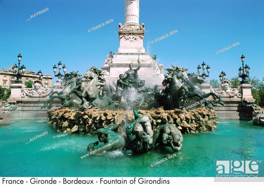 Stock Photo: France - Gironde - Bordeaux - Fountain of Girondins.