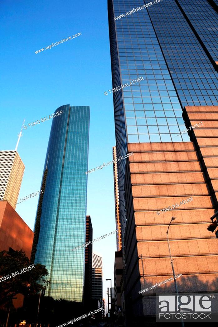 Stock Photo: Houston mirror skyscrappers. Texas, USA.
