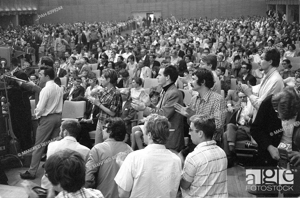 Stock Photo: Participants on 28 May 1968 at an event against the German Emergency Acts in the Great Broadcasting Hall of Hessischer Rundfunk in Frankfurt am Main.