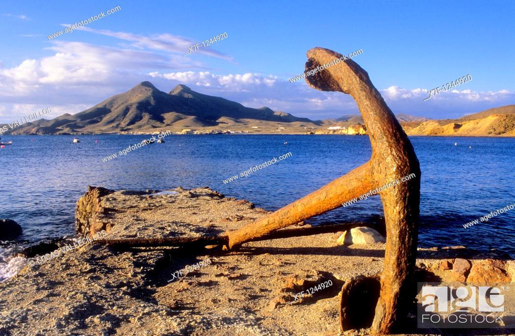 Stock Photo: Cerro del Fraile from La Isleta del Moro  Cabo de Gata-Nijar Natural Park  Biosphere Reserve, Almeria province, Andalucia, Spain.