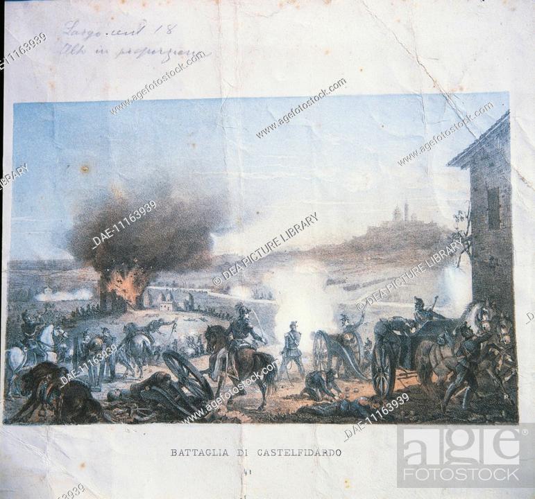 Stock Photo: Italy - 19th century, Second War of Independence - Battle of Castelfidardo, 18 September 1860. Coloured print.  Macerata.