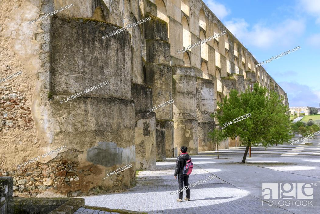 Stock Photo: Amoreira Aqueduct, Garrison Border Town of Elvas and its Fortifications, Portalegre District, Alentejo Region, Portugal, Europe.