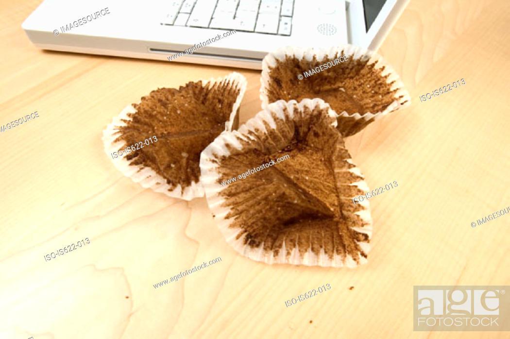 Stock Photo: Eaten cakes on desk.