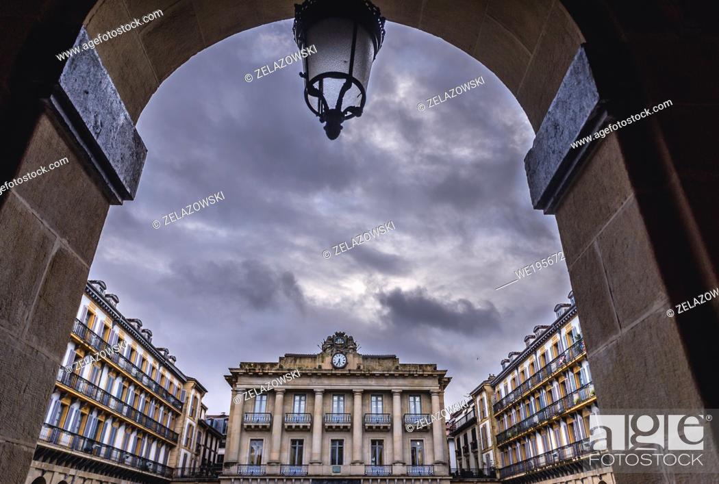 Stock Photo: Buildings on Constitucion Plaza in San Sebastian coastal city located in the Basque Autonomous Community, Spain.