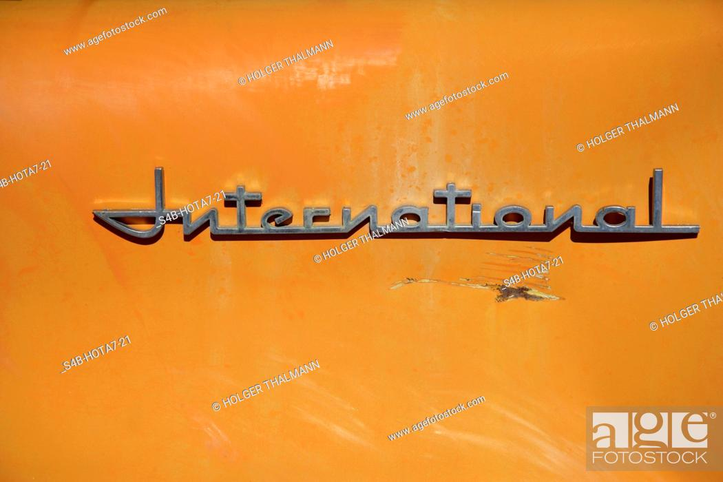 Stock Photo: Word international on orange background, California, USA.