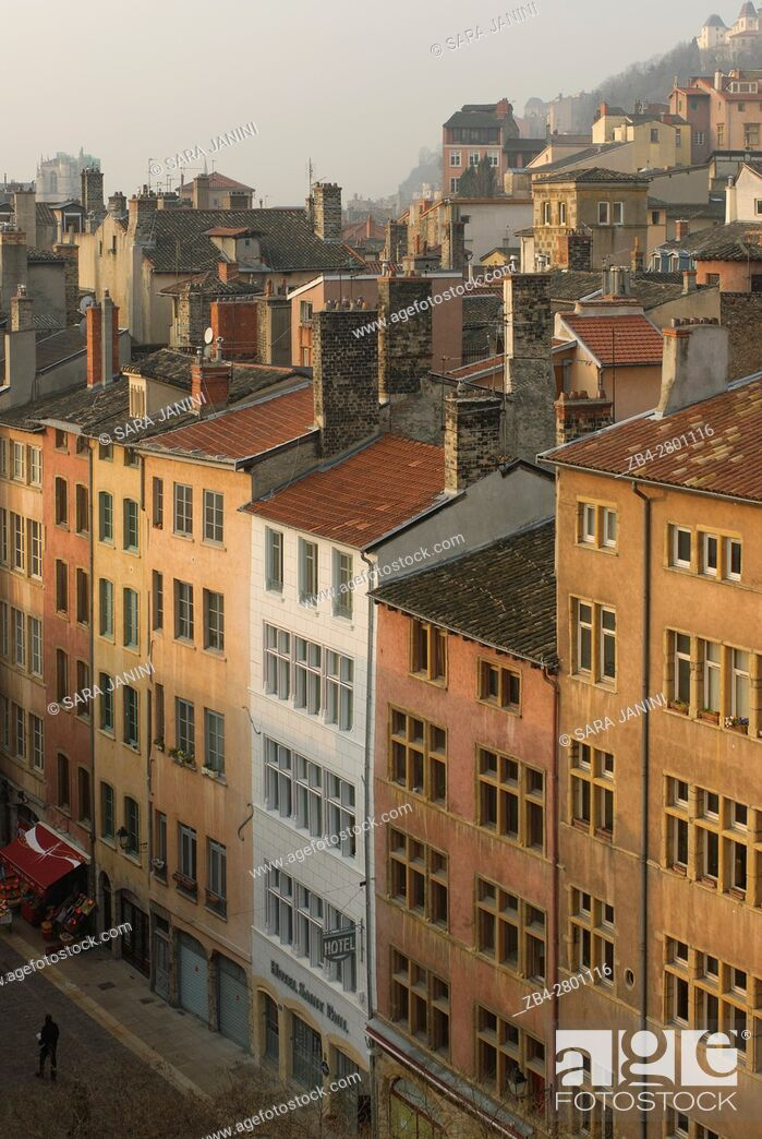 Stock Photo: Views of the roofs and houses of the old Town UNESCO World Heritage Site and view of Notre-Dame de Fourvière, Lyon, France, Europe.