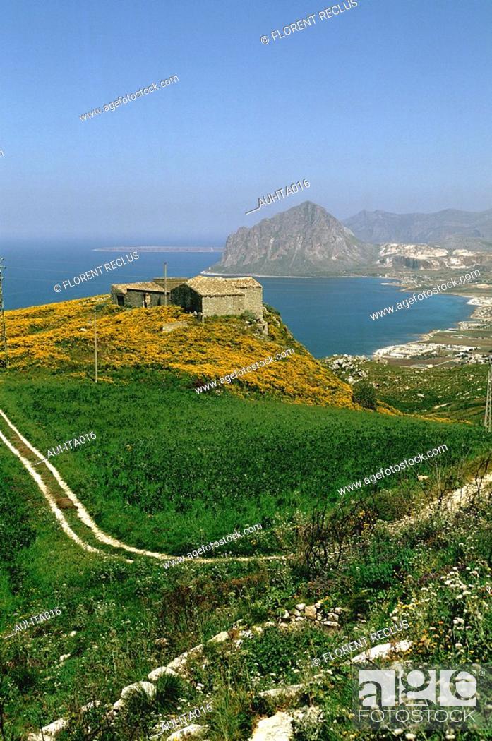 Stock Photo: Italy - Sicily - Erice Road.