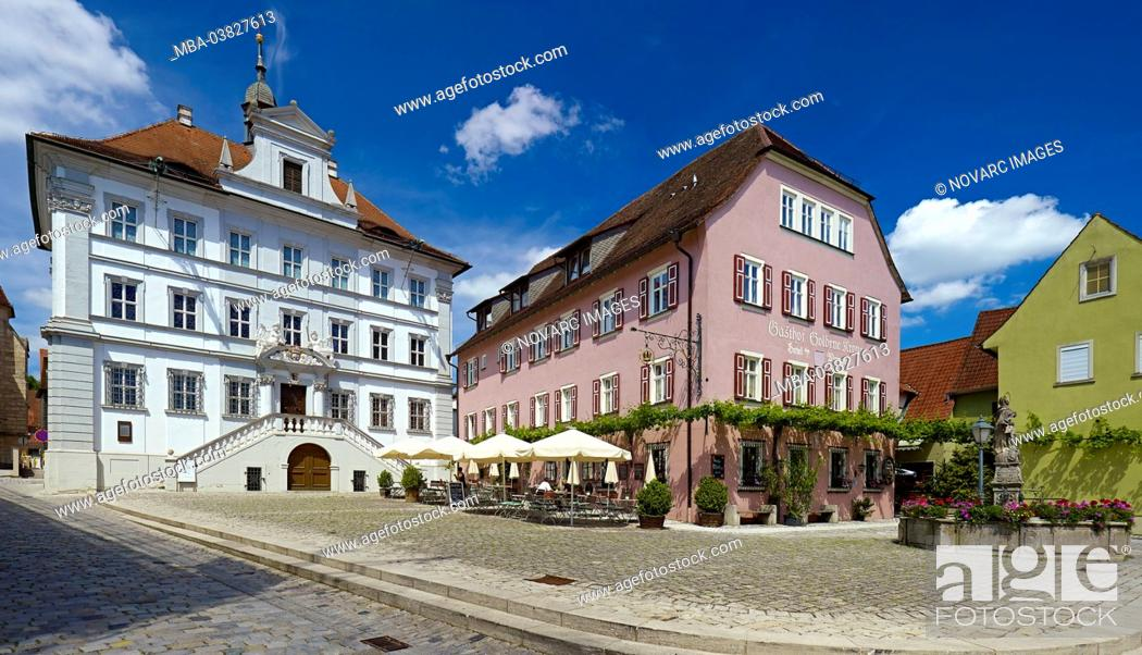 Stock Photo: Town hall and inn Goldene Krone at the market in Iphofen, Lower Franconia, district of Kitzingen, Bavaria, Germany,.