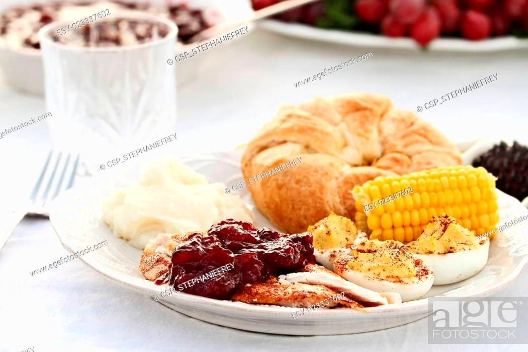 Stock Photo: Cranberry Sauce Over Roasted Turkey.