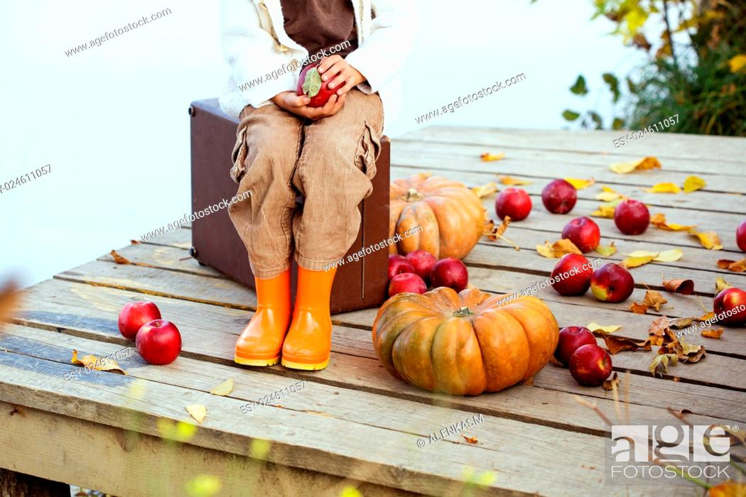 Imagen: Cute little girl sitting on a vintage suitcase near the lake in warm autumn day. Halloween pumpkins, apples and fallen leaves beside.