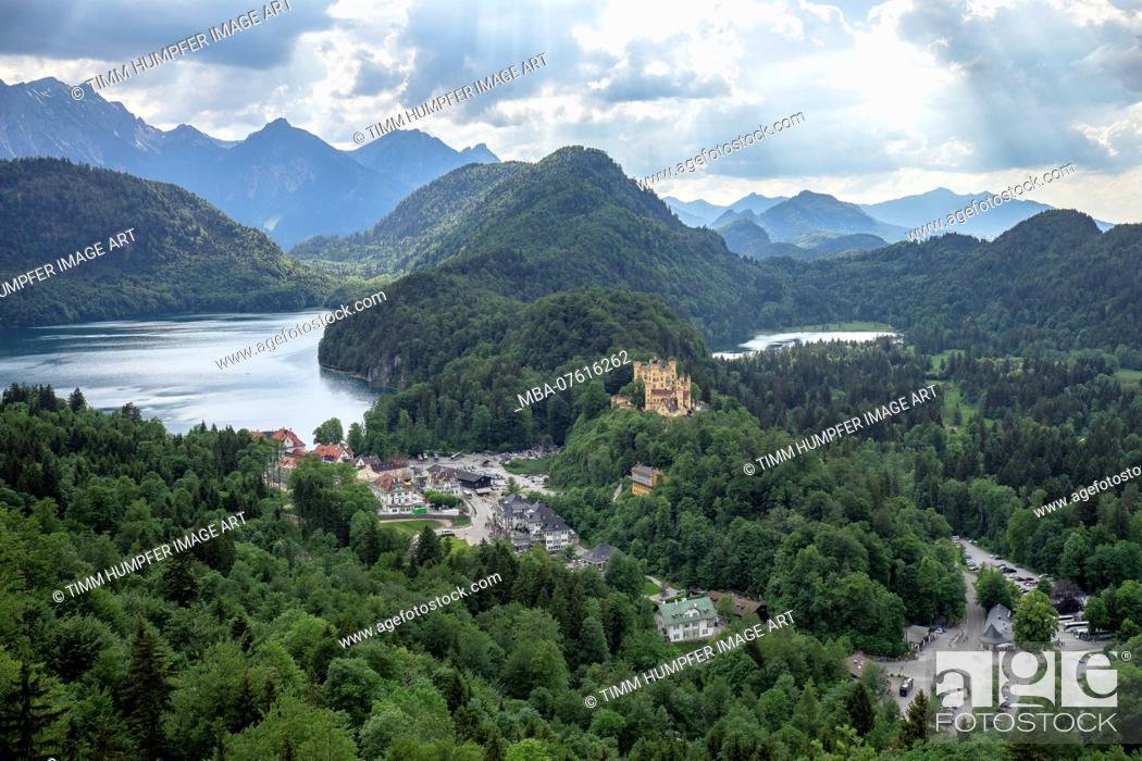 Stock Photo: Germany, Bavaria, Hohenschwangau, view to Hohenschwangau Castle and the Alpsee.