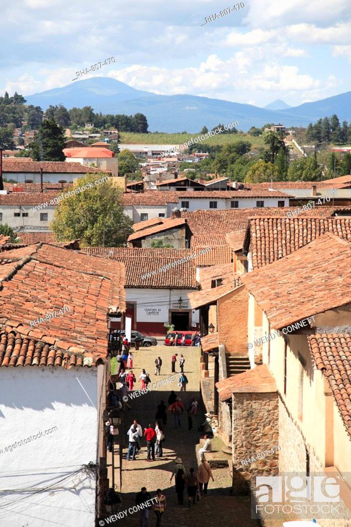 Stock Photo: Tiled roofs, Patzcuaro, Michoacan state, Mexico, North America.