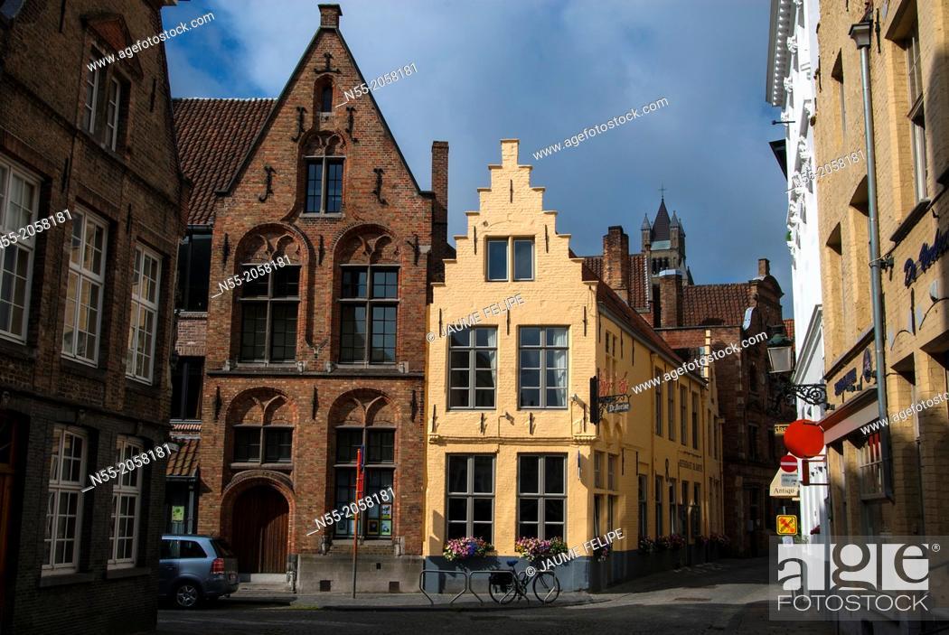 Stock Photo: Street view. Bruges, West Flanders, Belgium.
