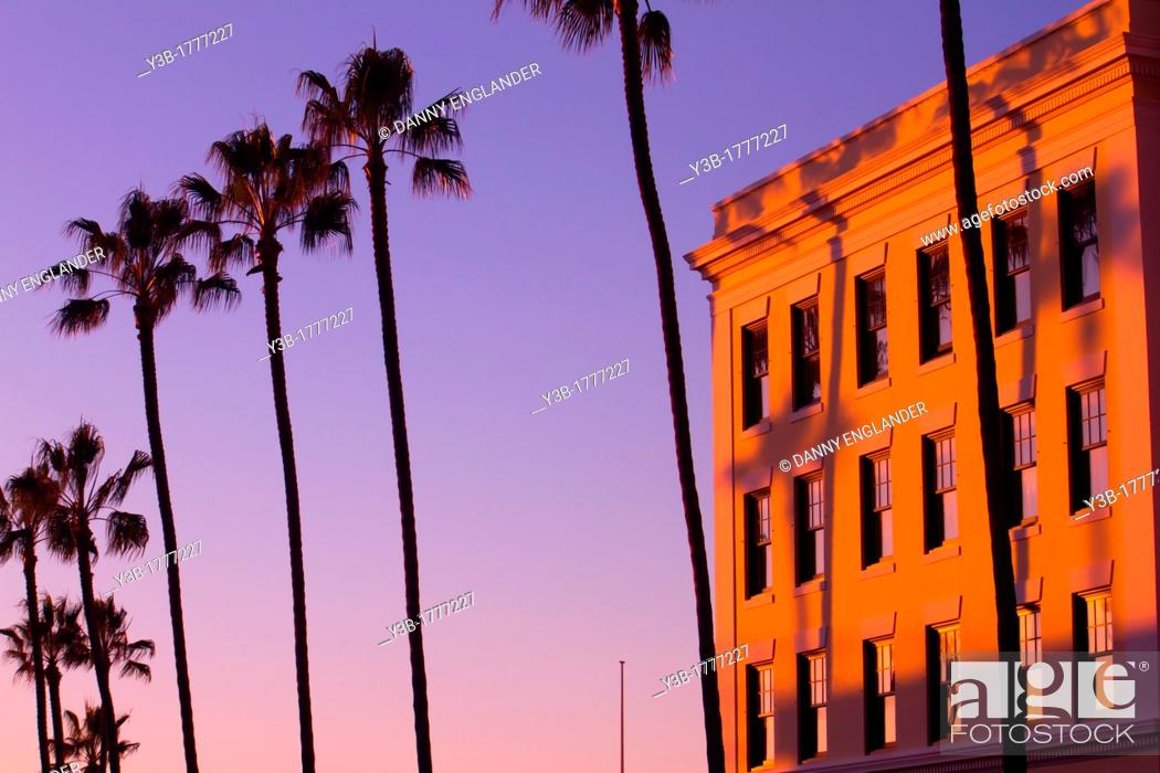 Stock Photo: Palm Trees next to a building at sunset in La Jolla, California.