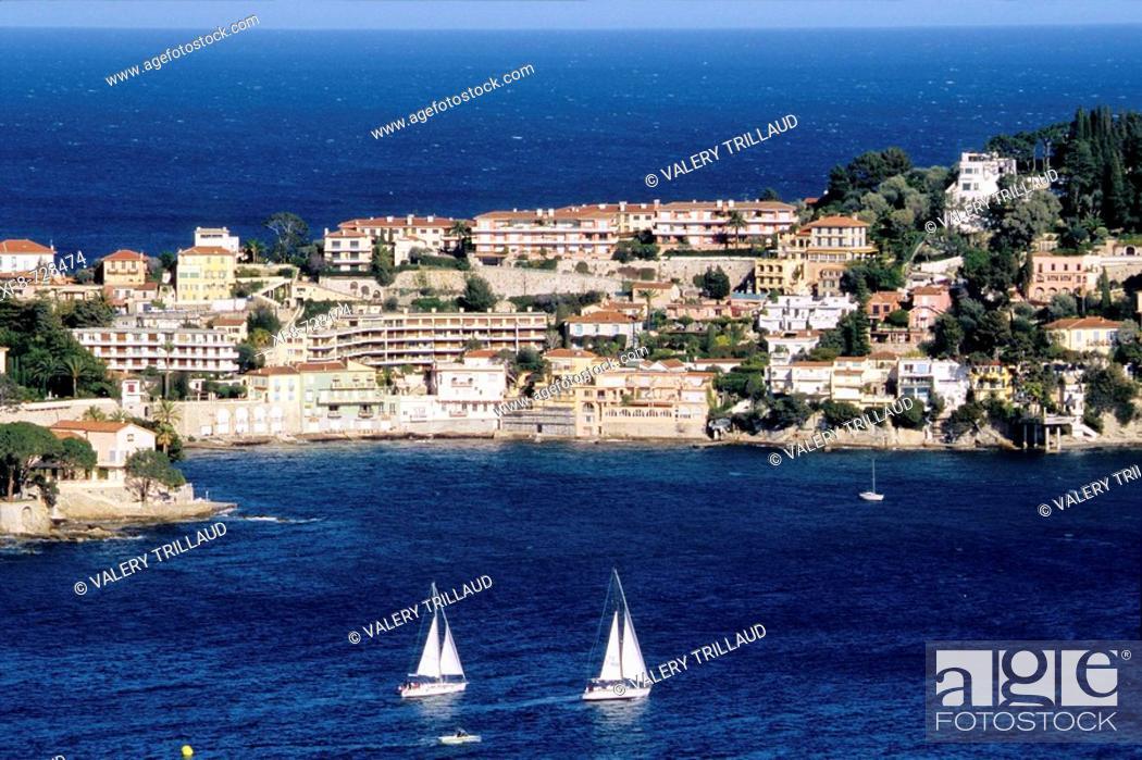 Stock Photo: Ferrat Cape and Villefranche-sur-Mer bay. Alpes Maritimes, France.