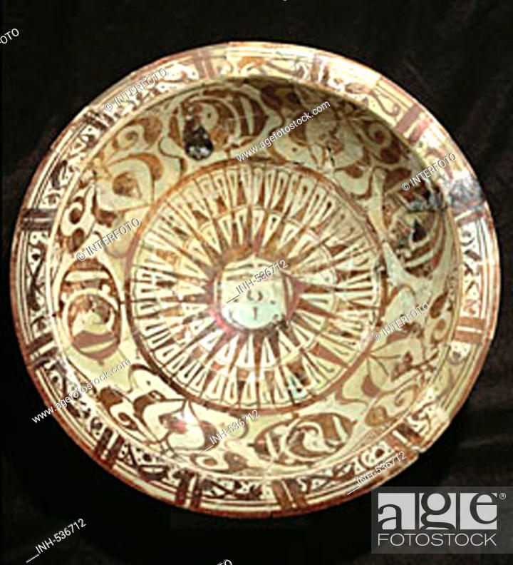Stock Photo: Islamische Kunst, Keramik, Schüssel, Schale, aus Qual at Djabar, Lüster Malerei, Lüstermalerei,  Raqqa, Syrien, 13. Jahrhundert, historisch, Teller,  Islam.