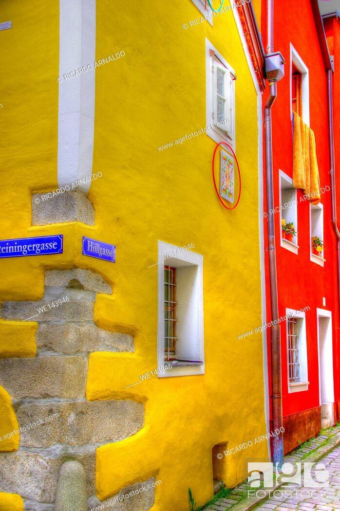 Stock Photo: Passau street scene.