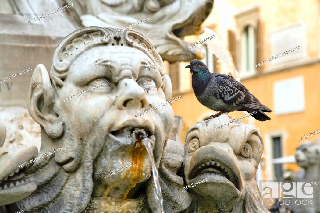 Stock Photo: The fountain on Piazza della Rotonda in Rome. Italy.