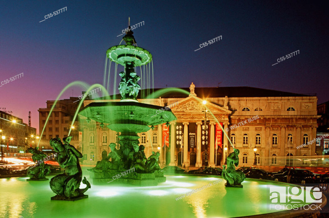 Stock Photo: D. Maria II National Theatre at Rossio Square, Lisbon. Portugal.