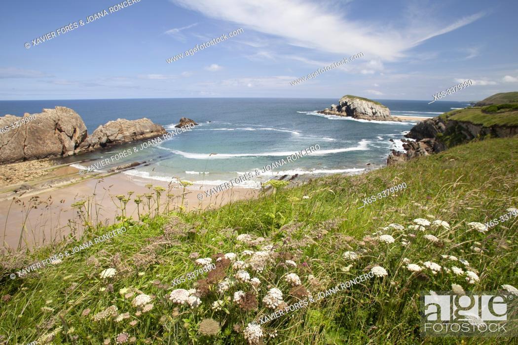 Stock Photo: Arnia beach and Urros de Liencres, Liencres, Cantabria, Spain.