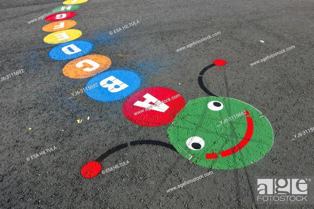 Stock Photo: primary school playground patterns on tarmac, Finland.
