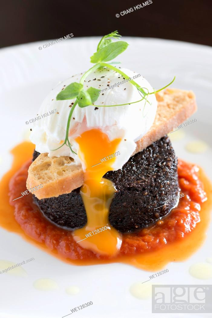Stock Photo: Fried breakfast food from a fine dining restaurant.