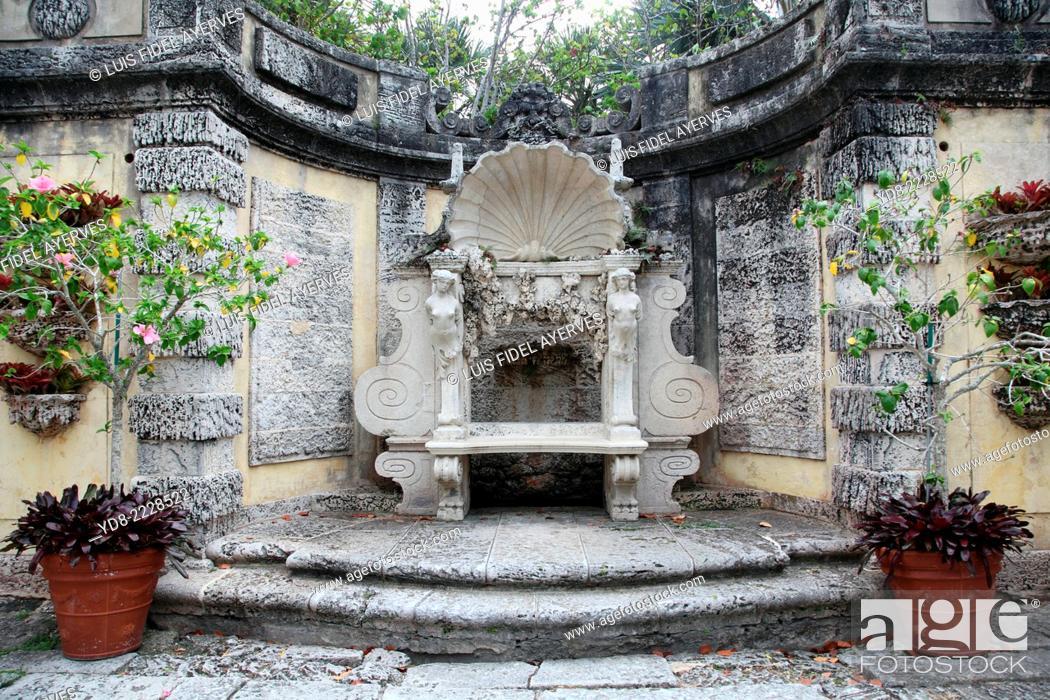 Stock Photo: Detail Vizcaya Park, Miami, Florida, USA.