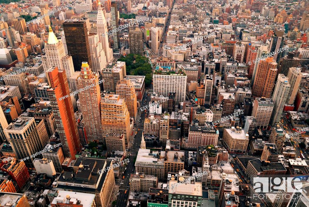 Stock Photo: New York City skyline street aerial view.