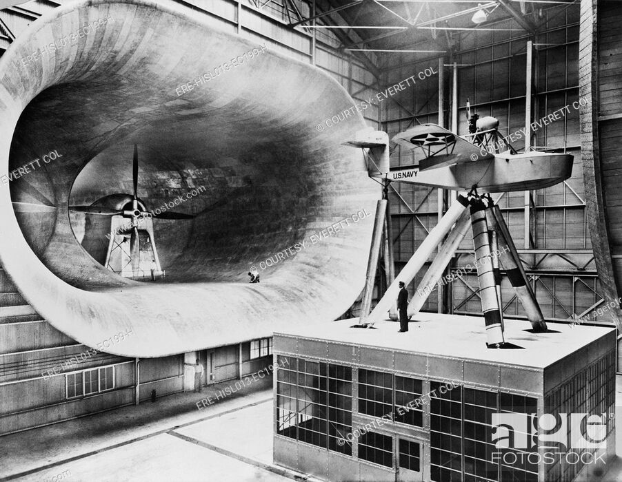 Stock Photo: Mammoth seven story high wind tunnel, used in testing airplane design. 1932.