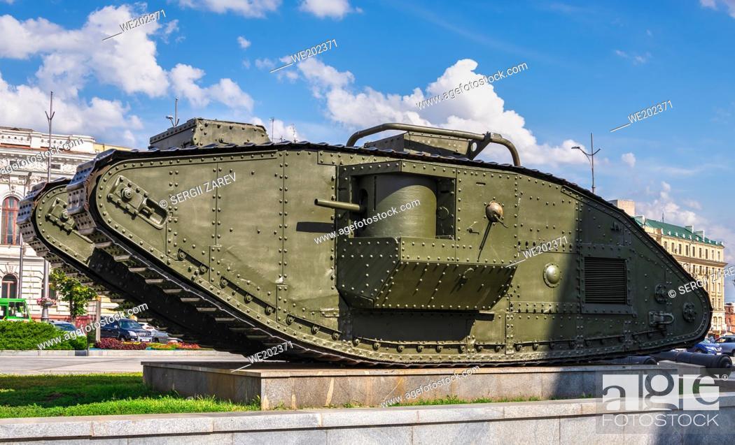 Stock Photo: Kharkiv, Ukraine 07. 17. 2020. Monument to the tank Mark-V on Constitution Square in Kharkiv, Ukraine, on a sunny summer day.