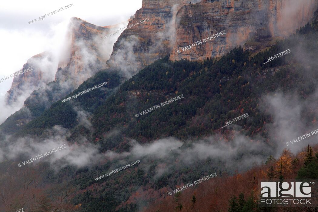 Stock Photo: Landscape with low clouds in the Ordesa valley. Ordesa y Monte Perdido national park. Huesca.