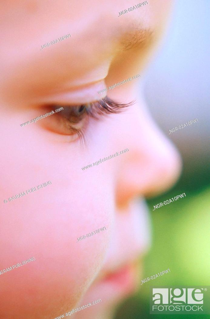 Stock Photo: Close up of a little boys face.