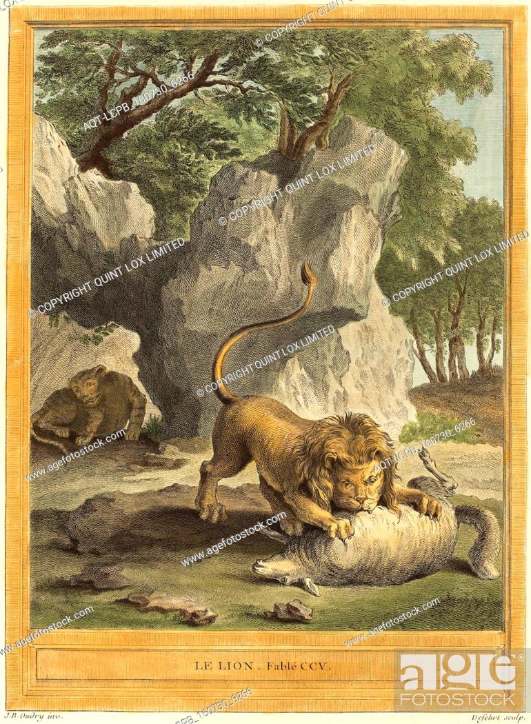 Stock Photo: A.-J. de Fehrt after Jean-Baptiste Oudry (French, born 1723), Le lion (The Lion), published 1759, hand-colored etching.