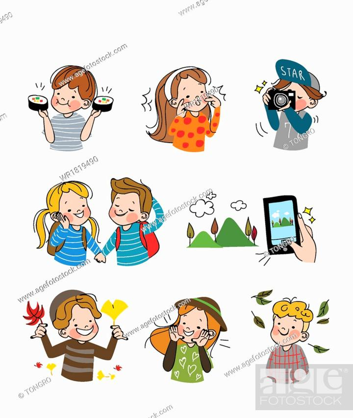 Stock Photo: An emoticon set with people.