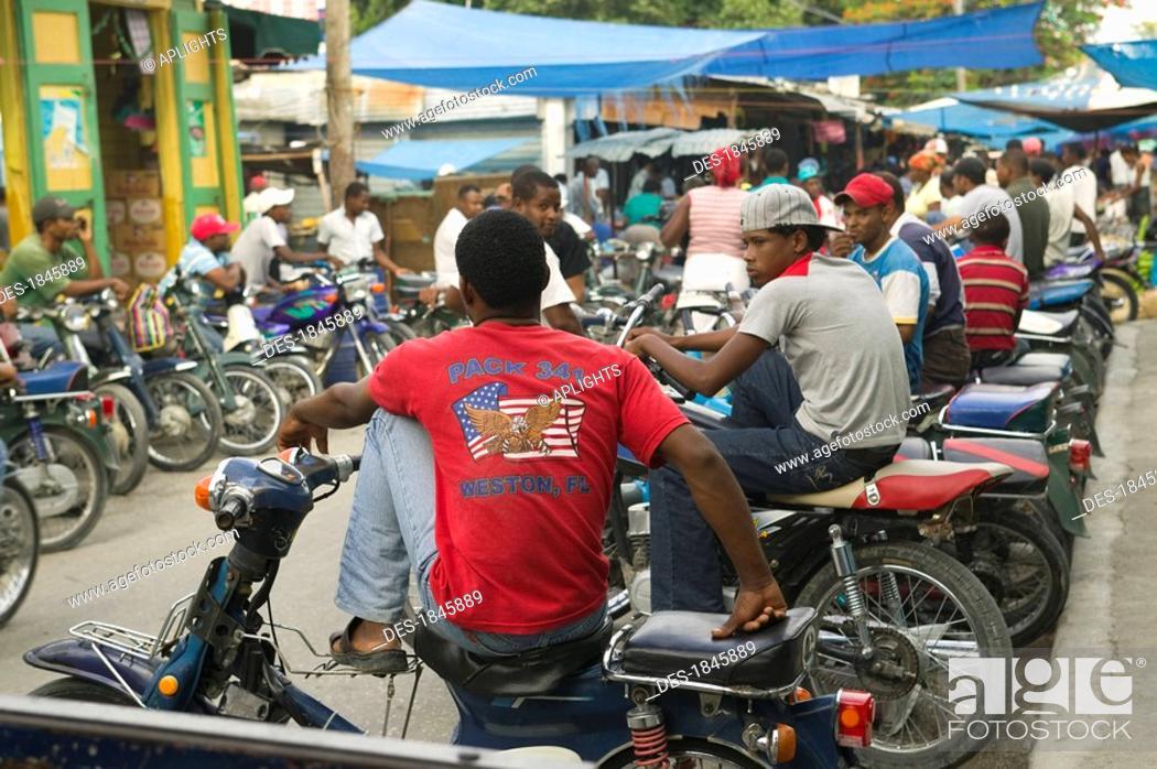 Stock Photo Motorcycle Taxi Waiting For Passenger At Street Market Neiba Baoruco Dominican Republic