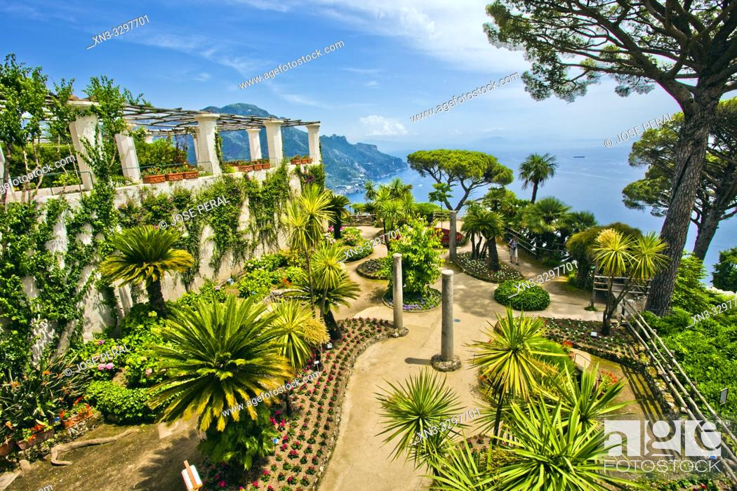 Stock Photo: View from garden of Villa Rufolo, Ravello, Amalfi Coast, province of Salerno, Campania, Italy, Europe.