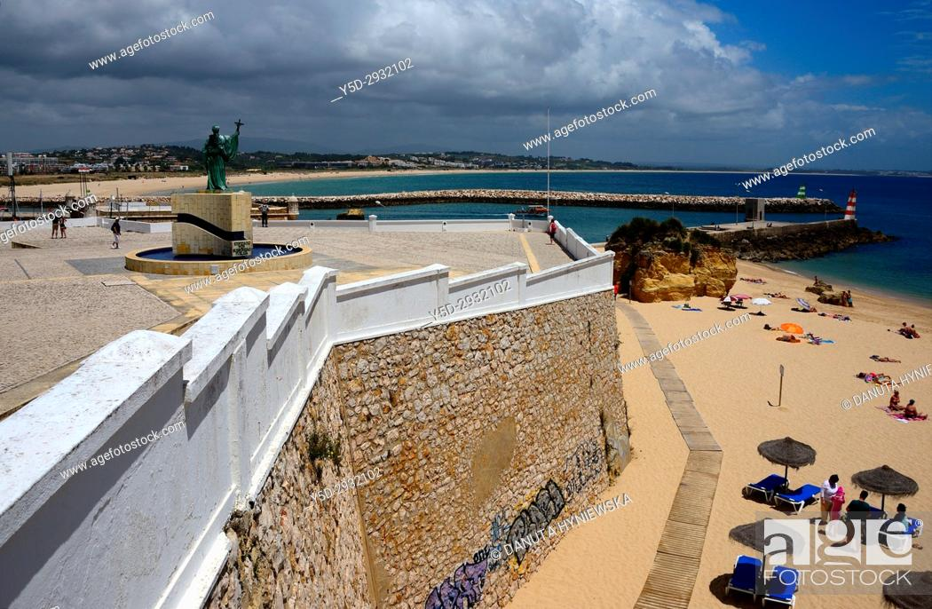 Stock Photo: Europe, Atlantic Ocean, Portugal, Southern Portugal , Algarve region , Faro district , Lagos, panoramic view of coast in city center.