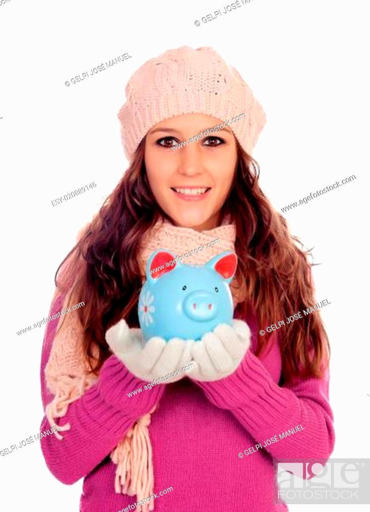 Stock Photo: Happy girl with a money-box.