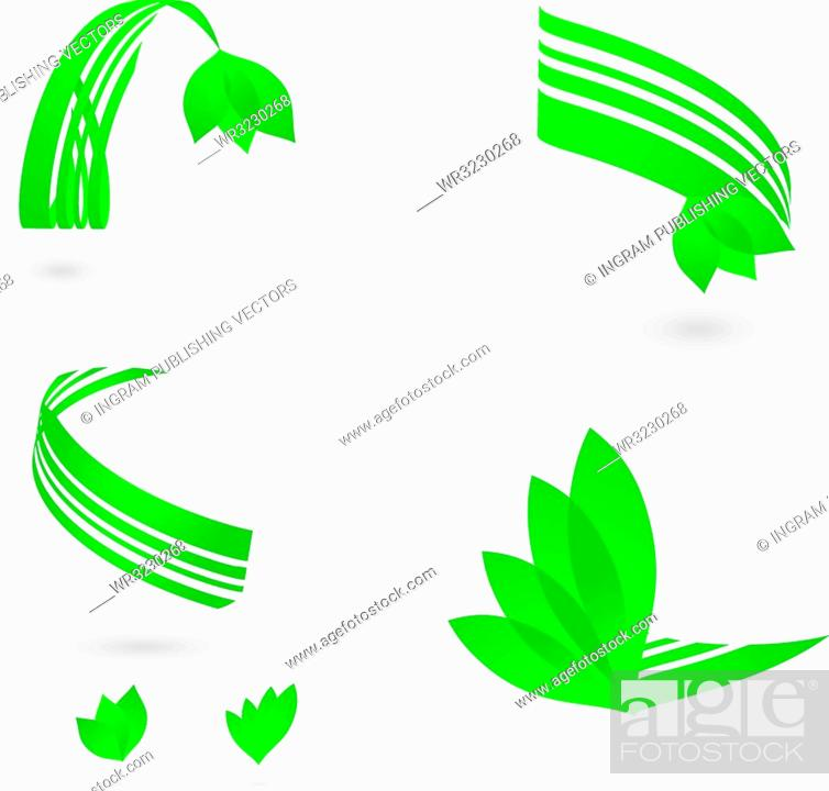 Stock Vector: environmental set of logos with drop shadow and leaf.