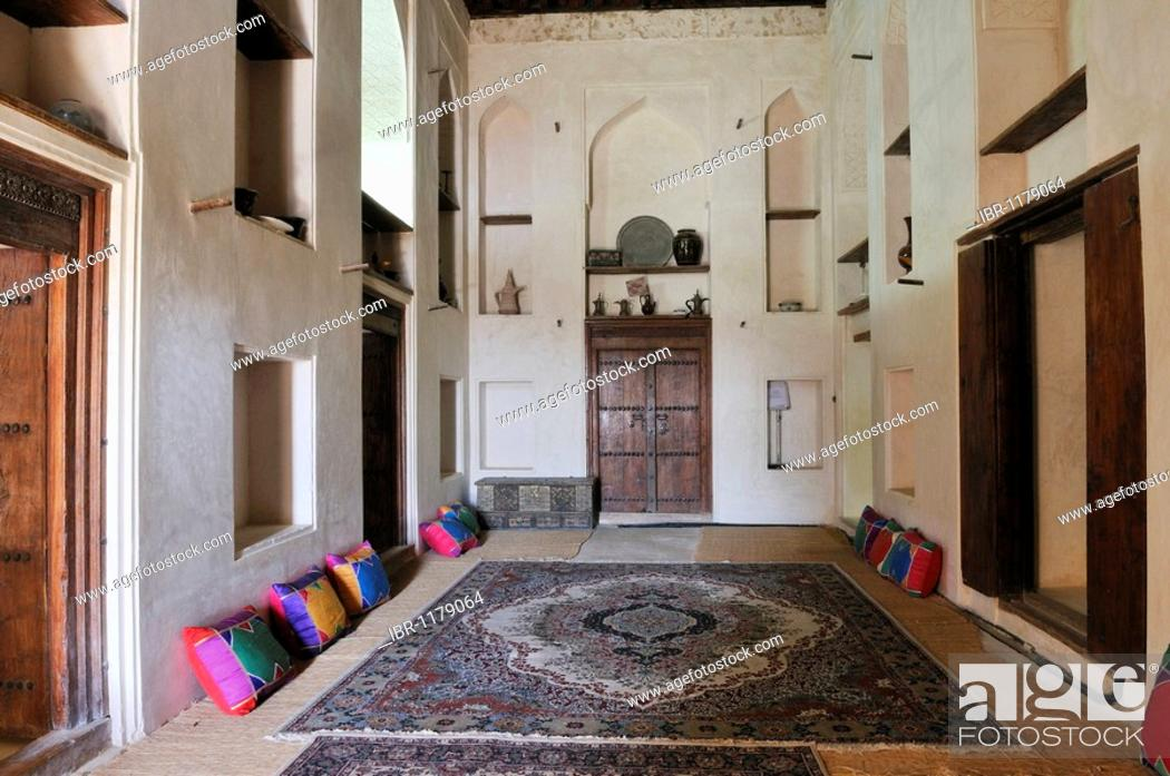 Stock Photo: Traditional arabian living room at Jabrin Castle or Fort, Dakhliyah Region, Sultanate of Oman, Arabia, Middle East.
