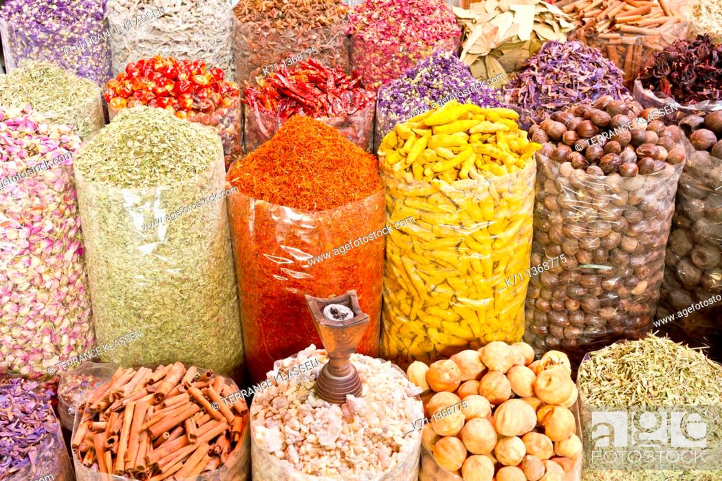 Stock Photo: Fresh produce displayed in the spice souq market in Dubai, UAE.
